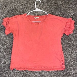 lucky brand top with ruffled sleeves